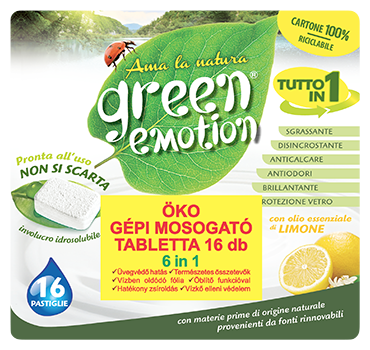 GREEN EMOTION ÖKO Gépi mosogató kapszula 6in1 Citromos 16 db
